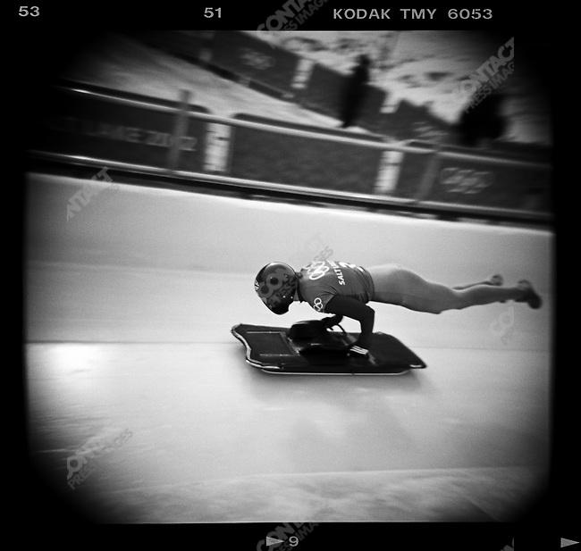 Winter Olympics. Men's skeleton start, Salt Lake City, Utah, USA, February 2002.