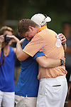 HOWEY IN THE HILLS, FL - MAY 19: Josh Gibson of Hope College and his dad celebrate during the Division III Men's Golf Championship held at the Mission Inn Resort and Club on May 19, 2017 in Howey In The Hills, Florida. (Photo by Cy Cyr/NCAA Photos via Getty Images)