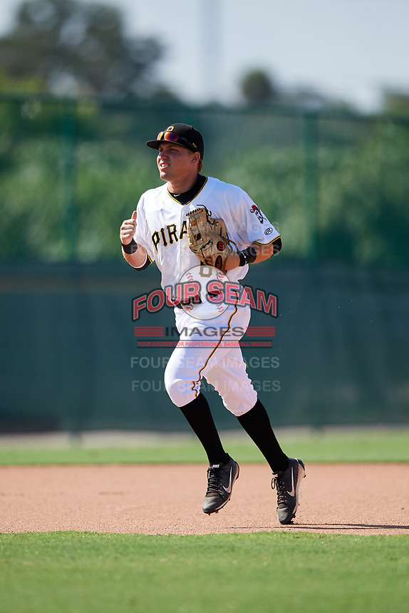 GCL Pirates left fielder Steven Kraft (6) jogs back to the dugout during a game against the GCL Yankees West on August 2, 2018 at Pirate City Complex in Bradenton, Florida.  GCL Pirates defeated GCL Yankees West 6-2.  (Mike Janes/Four Seam Images)