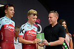 Team Katusha-Alpecin lead the team classification at the end of Stage 2 of the 101st edition of the Giro d'Italia 2018 running 167km from Haifa to Tel Aviv, Israel. 5th May 2018.<br /> Picture: LaPresse/Marco Alpozzi | Cyclefile<br /> <br /> <br /> All photos usage must carry mandatory copyright credit (&copy; Cyclefile | LaPresse/Marco Alpozzi)