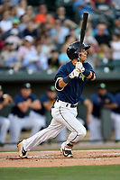 Shortstop Andres Gimenez (13) of the Columbia Fireflies bats in a game against the West Virginia Power on Friday, May 19, 2017, at Spirit Communications Park in Columbia, South Carolina. West Virginia won, 3-1. (Tom Priddy/Four Seam Images)