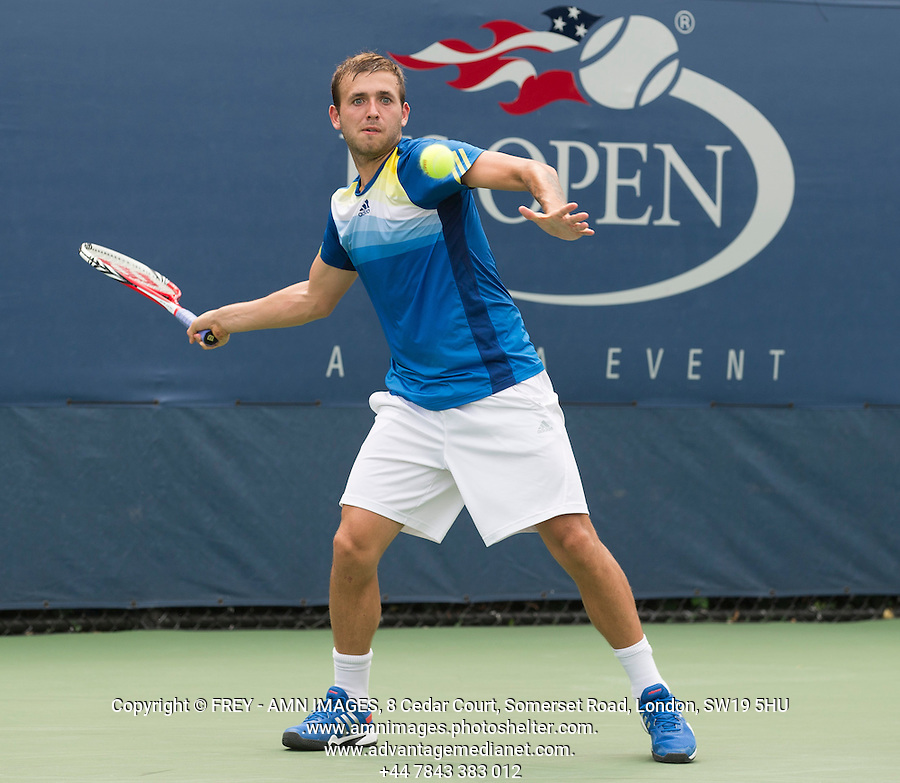 Dan Evans<br /> <br /> Tennis - US Open  - Grand Slam -  Flushing Meadows  2013 -  New York - USA - United States of America - Monday 26th August 2013. <br /> &copy; AMN Images, 8 Cedar Court, Somerset Road, London, SW19 5HU<br /> Tel - +44 7843383012<br /> mfrey@advantagemedianet.com<br /> www.amnimages.photoshelter.com<br /> www.advantagemedianet.com<br /> www.tennishead.net