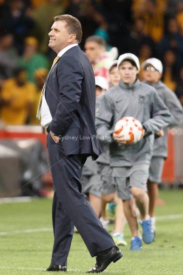 The coach of the Australian Team Ange Postecoglou looks at the crowd after match 1 of the 2015 AFC Asian Cup at the Melbourne Rectangular Stadium on 9 January 2015.