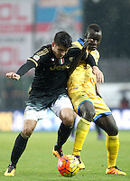 Calcio, Serie A: Frosinone vs Juventus. Frosinone, stadio Comunale, 7 febbraio 2016.<br /> Juventus' Alvaro Morata, left, is challenged by Frosinone's Raman Chibsah during the Italian Serie A football match between Frosinone and Juventus at Frosinone's Comunale stadium, 7 January 2016.<br /> UPDATE IMAGES PRESS/Isabella Bonotto
