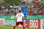 11.08.2019, Salmtalstadion, Salmrohr, GER, DFB-Pokal, 1. Runde FSV Salmrohr vs Holsteinm Kiel<br /> <br /> DFB REGULATIONS PROHIBIT ANY USE OF PHOTOGRAPHS AS IMAGE SEQUENCES AND/OR QUASI-VIDEO.<br /> <br /> im Bild / picture shows<br /> <br /> Daniel LITTAU (FSV Salmrohr, #11, weiß), Lucas LAUTWEIN (FSV Salmrohr, #15, weiß, verdeckt) und Daniel HANSLIK (Holstein Kiel, #11, blau) <br /> <br /> Foto © nordphoto / Schwarz