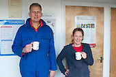 Plumbing students enjoy a hot drink during a break, Able Skills, Dartford, Kent.