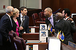 Senate Democrats, from left, Mo Denis, Joyce Woodhouse, Mark Manendo, Aaron Ford, Ruben Kihuen and Kelvin Atkinson talk on the Senate floor at the Legislative Building in Carson City, Nev., on Monday, Feb. 16, 2015. <br /> Photo by Cathleen Allison