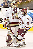 Cory Schneider, Chris Collins - The Boston College Eagles defeated the Northeastern University Huskies 5-2 in the opening game of the 2006 Beanpot at TD Banknorth Garden in Boston, MA, on February 6, 2006.