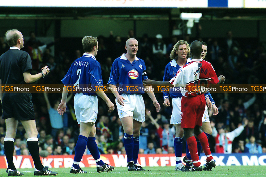 Leicester's Robbie Savage takes offence after a rather over zealous tackle from Wycombe's Steve Brown during Leicester City vs Wycombe Wanderers, FA Cup Football at Filbert Street on 10th March 2001
