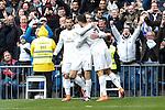 Real Madrid´s Gareth Bale celebrates a goal with Cristiano Ronaldo during 2015/16 La Liga match between Real Madrid and Celta de Vigo at Santiago Bernabeu stadium in Madrid, Spain. March 05, 2016. (ALTERPHOTOS/Victor Blanco)