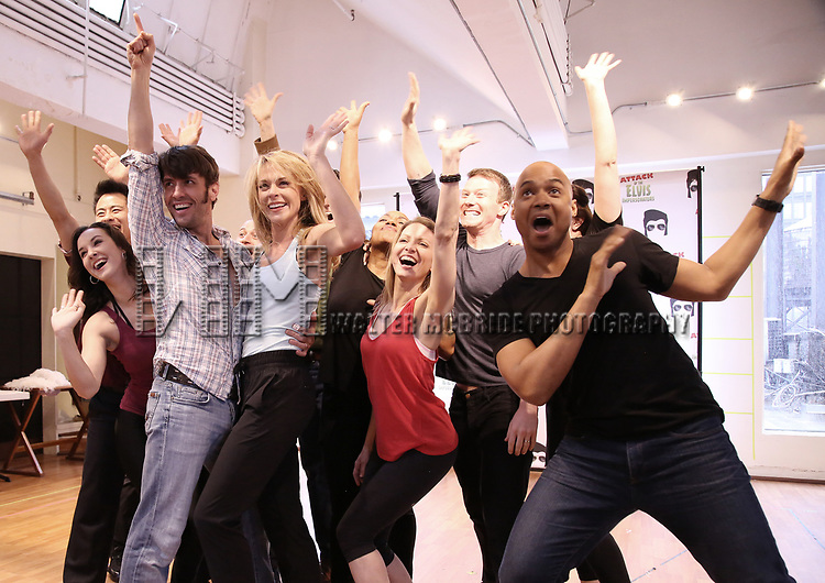Eric Sciotta, Ashley Spencer and Curtis Wiley with The cast during the Press preview for 'Attack of the Elvis Impersonators'  at Shelter Studios on May 22, 2017 in New York City.