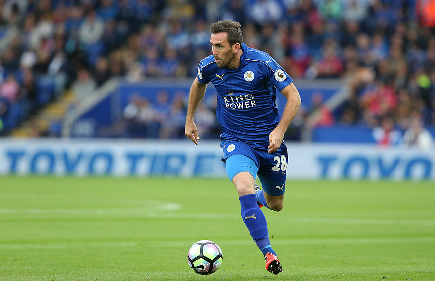 Leicester City's Christian Fuchs<br /> <br /> Photographer Stephen White/CameraSport<br /> <br /> The Premier League - Leicester City v Burnley - Saturday 17th September 2016 - King Power Stadium - Leicester <br /> <br /> World Copyright &copy; 2016 CameraSport. All rights reserved. 43 Linden Ave. Countesthorpe. Leicester. England. LE8 5PG - Tel: +44 (0) 116 277 4147 - admin@camerasport.com - www.camerasport.com