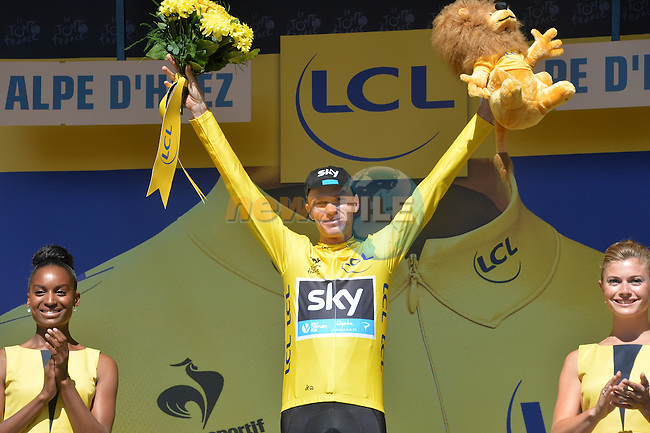 Race leader Christopher Froome (GBR) Team Sky holds onto his lead at the end of Stage 20 of the 2015 Tour de France running 110.5km from Modane Valfrejus to Alpe d'Huez, France. 25th July 2015.<br /> Photo: ASO/G.Demouveaux/Newsfile
