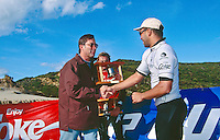 Sunny Garcia (HAW) winner of the 1996 Rip Curl Pro at Johanna Beach, Victoria, Australia.  The contest went mobile when conditions at Bells Beach were not suitable. Todd Prestage (AUS) was runner up to Garcia who was the defending champion. Photo: joliphotos.com