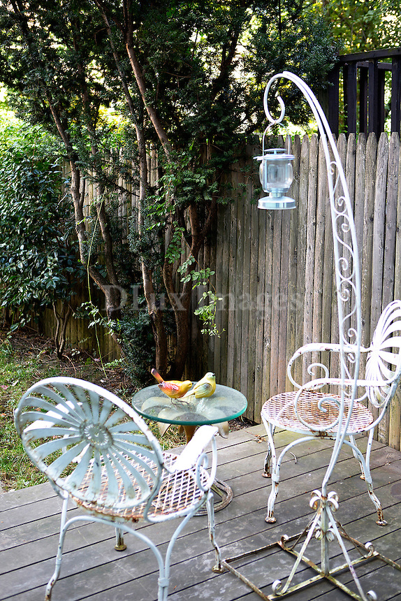 outdoor white iron chairs