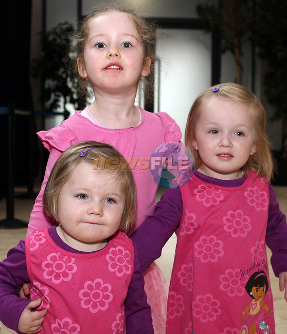 Shannon Quigley with Aimee and Shauna Rice at the Barney Show in Scotch Hall...(Photo credit should read Jenny Matthews/www.newsfile.ie)....This Picture has been sent you under the conditions enclosed by:.Newsfile Ltd..The Studio,.Millmount Abbey,.Drogheda,.Co Meath..Ireland..Tel: +353(0)41-9871240.Fax: +353(0)41-9871260.GSM: +353(0)86-2500958.email: pictures@newsfile.ie.www.newsfile.ie.