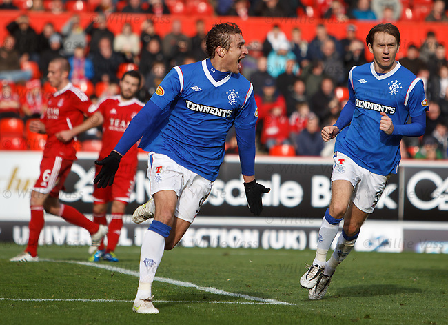 Nikica Jelavic celebrates after scoring from the penalty spot