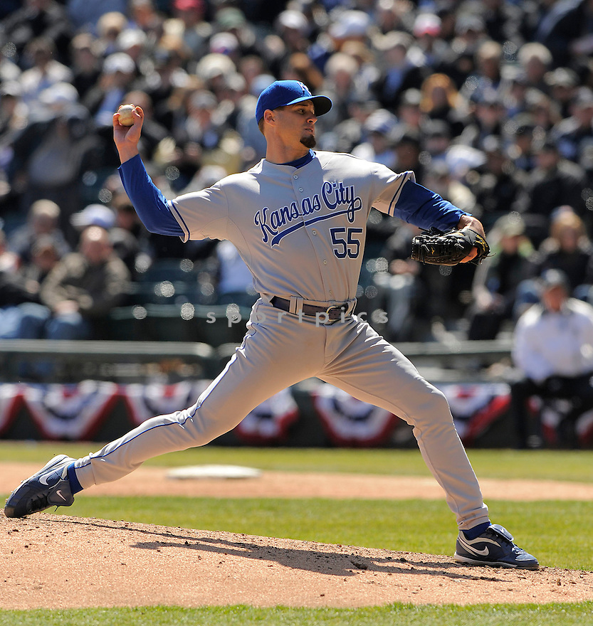 GIL MECHE, of the Kansas CIty Royals, in action  during the Royals  game against the Chicago White Sox  on April 7, 2009 in Chicago, IL.  The White Sox beat  the Royals  4-2 in Chicago,