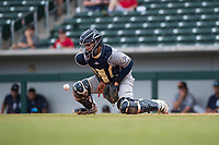 Peoria Javelinas catcher Mario Feliciano (6), of the Milwaukee Brewers organization, receives a throw during an Arizona Fall League game against the Mesa Solar Sox at Sloan Park on October 11, 2018 in Mesa, Arizona. Mesa defeated Peoria 10-9. (Zachary Lucy/Four Seam Images)