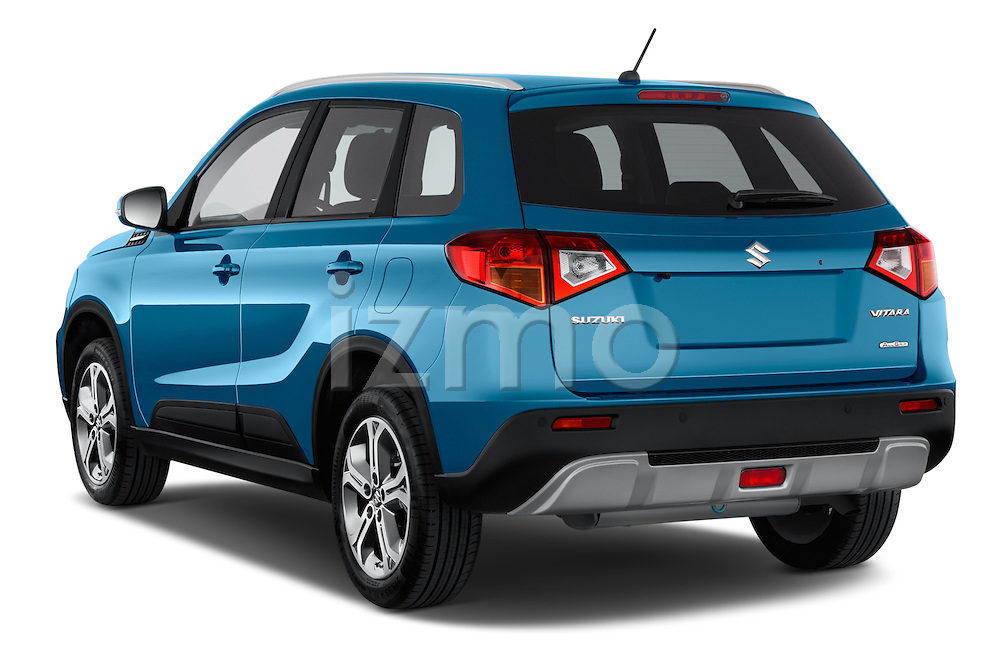 Car pictures of rear three quarter view of a 2015 Suzuki Vitara Lux Extra 5 Door SUV angular rear