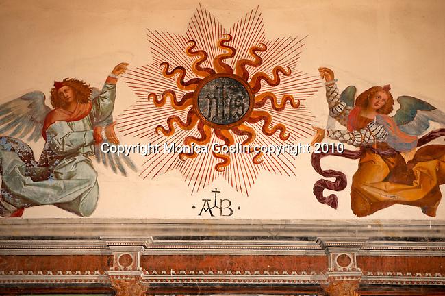 A 15th century fresco of angels in the Santa Maria delle Grazie Church in Gravedona, a town on Lake Como Italy