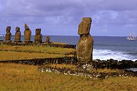 Tahai Platform Moai Statue Abstracts Easter Island during Tapati Festival Rapa Nu