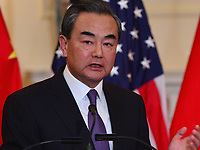 Washington, DC - May 23, 2018: Chinese State Councilor and Foreign Minister Wang Yi meets with U.S. Secretary of State Michael Pompeo meets with at the Department of State in Washington, D.C. May 23, 2018.  (Photo by Don Baxter/Media Images International)
