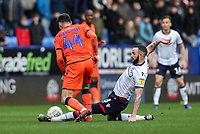Bolton Wanderers' Marc Wilson competing with Millwall's Ben Marshall <br /> <br /> Photographer Andrew Kearns/CameraSport<br /> <br /> The EFL Sky Bet Championship - Bolton Wanderers v Millwall - Saturday 9th March 2019 - University of Bolton Stadium - Bolton <br /> <br /> World Copyright © 2019 CameraSport. All rights reserved. 43 Linden Ave. Countesthorpe. Leicester. England. LE8 5PG - Tel: +44 (0) 116 277 4147 - admin@camerasport.com - www.camerasport.com