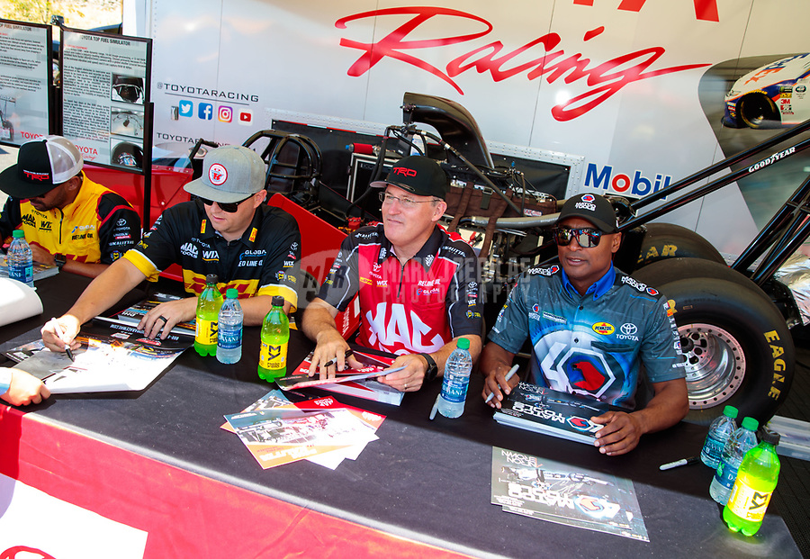 Jul 27, 2019; Sonoma, CA, USA; NHRA top fuel driver Richie Crampton (left), Doug Kalitta (center) and Antron Brown during qualifying for the Sonoma Nationals at Sonoma Raceway. Mandatory Credit: Mark J. Rebilas-USA TODAY Sports