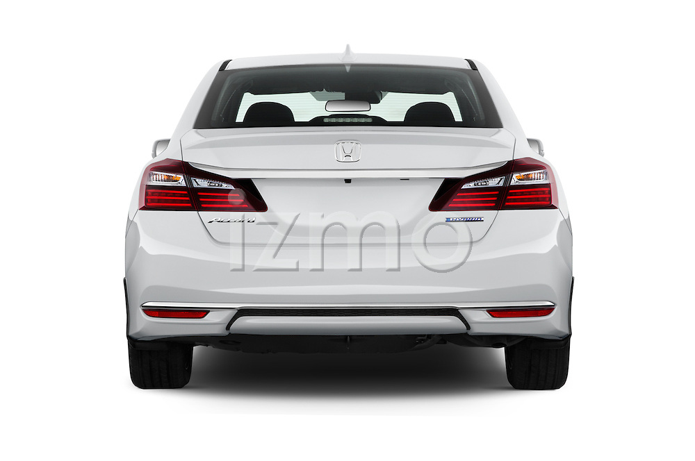 Straight rear view of 2017 Honda Accord Hybrid 4 Door Sedan Rear View  stock images