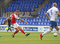 Fleetwood Town's Harrison Biggins gets a shot on goal<br /> <br /> Photographer Mick Walker/CameraSport<br /> <br /> Football Pre-Season Friendly - Tranmere Rovers  v Fleetwood Town  - Saturday 21st July 2018 - Prenton Park - Tranmere<br /> <br /> World Copyright &copy; 2018 CameraSport. All rights reserved. 43 Linden Ave. Countesthorpe. Leicester. England. LE8 5PG - Tel: +44 (0) 116 277 4147 - admin@camerasport.com - www.camerasport.com