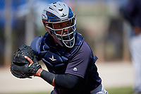 New York Yankees Ysaac Pena (4) during practice before a Minor League Spring Training game against the Toronto Blue Jays on March 18, 2018 at Englebert Complex in Dunedin, Florida.  (Mike Janes/Four Seam Images)