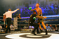 Ryan Doyle (camouflage shorts) defeats Reece Bellotti during a Boxing Show at York Hall on 6th June 2018