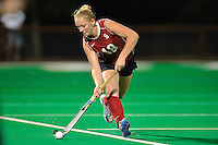 STANFORD, CA - OCTOBER 21, 2011: Kelsey Lloyd prepares to pass during the game between Stanford field hockey and UC Davis at the Varsity Field Hockey Turf in Stanford, California on October 21, 2011.  Stanford defeated UC Davis, 5-0.