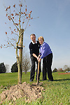 Captain Martin Commins and Lady Captain Nuala Thorne planting a tree at the captain's drive in at ardee golf club. Photo: Colin Bell/pressphotos.ie