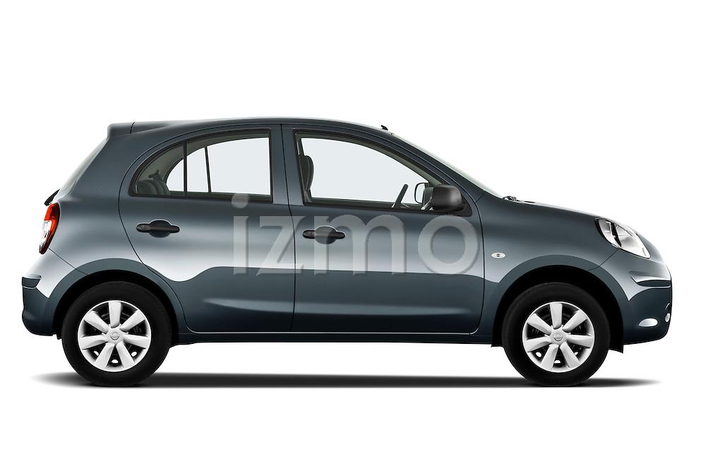 Passenger side profile view of a 2011 Nissan Micra Visia 5 Door Micro Car .