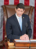 Incoming Speaker of the United States House of Representatives Paul Ryan (Republican of Wisconsin) makes opening remarks in the US House Chamber in the US Capitol in Washington, DC on Thursday, October 29, 2015.<br /> Credit: Ron Sachs / CNP