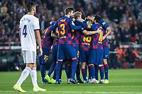 29th October 2019; Camp Nou, Barcelona, Catalonia, Spain; La Liga Football, Barcelona versus Real Valladolid; FC Barcelona team celebrating their goal against Valladolid from Len - Editorial Use