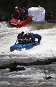 26/12/15<br /> <br /> Two minis, one towing a caravan are just some of dozens of competitors who are tossed into the Derwent as the extremely swollen river launches rafts, uncontrollably, down a weir along the route of the Boxing Day Race at Matlock Bath in Derbyshire.<br /> <br /> <br /> All Rights Reserved: F Stop Press Ltd. +44(0)1335 418365   www.fstoppress.com.