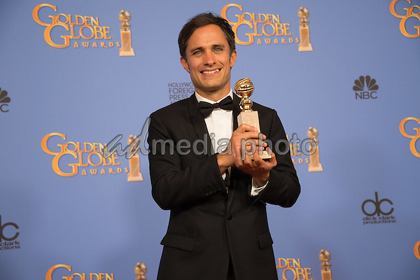 "After winning the category of BEST PERFORMANCE BY AN ACTOR IN A TELEVISION SERIES – COMEDY OR MUSICAL for his role in ""Mozart in the Jungle,"" actor Gael García Bernal poses backstage in the press room with his Golden Globe Award at the 73rd Annual Golden Globe Awards at the Beverly Hilton in Beverly Hills, CA on Sunday, January 10, 2016. Photo Credit: HFPA/AdMedia"