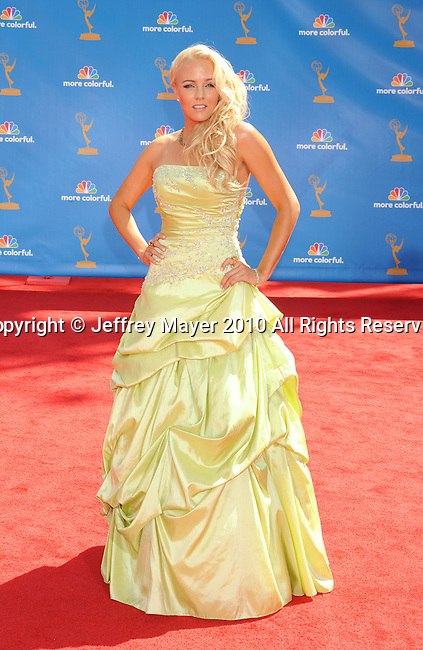 LOS ANGELES, CA. - August 29: Hannah Cornett  arrives at the 62nd Annual Primetime Emmy Awards held at the Nokia Theatre L.A. Live on August 29, 2010 in Los Angeles, California.