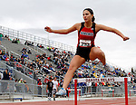 SIOUX FALLS, SD - MAY 3:  Kailey Schiesl from Brookings clears a hurdle in the Girls 300 Meter Hurdle Finals Saturday at the 2014 Howard Wood Dakota Relays. (Photo by Dave Eggen/Inertia)