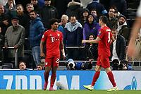 Serge Gnabry of Bayern Munich is congratulated after scoring the sixth goal during Tottenham Hotspur vs FC Bayern Munich, UEFA Champions League Football at Tottenham Hotspur Stadium on 1st October 2019