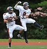 Manhasset No. 23 Jack Miller, left, and No. 2 Ryan Damico celebrate after a touchdown in the second quarter of a Nassau County Conference II varsity football game against host Garden City High School on Saturday, September 12, 2015. Garden City won by a score of 38-14.<br /> <br /> James Escher
