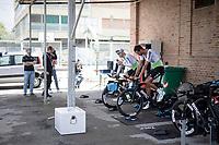 Danilo Wyss (SUI/Dimension Data) & Amanuel Ghebreigzabhier (ERI/Dimension Data) warming up for the stage<br /> <br /> Stage 9 (ITT): Riccione to San Marino (34.7km)<br /> 102nd Giro d'Italia 2019<br /> <br /> ©kramon