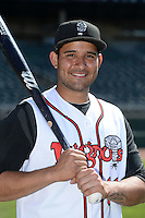 Lansing Lugnuts catcher Santiago Nessy (14) poses for a photo before a game against the South Bend Silver Hawks on June 6, 2014 at Cooley Law School Stadium in Lansing, Michigan.  South Bend defeated Lansing 13-5.  (Mike Janes/Four Seam Images)