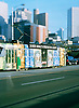 City trams with Melbourne backdrop.