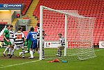A Darlington defender handles the ball on the line in the 92nd minute, the referee didn't see it.Darlington 1 Lincoln City 1, 09/04/2007. The Darlington Arena, League Two. Photo by Paul Thompson.