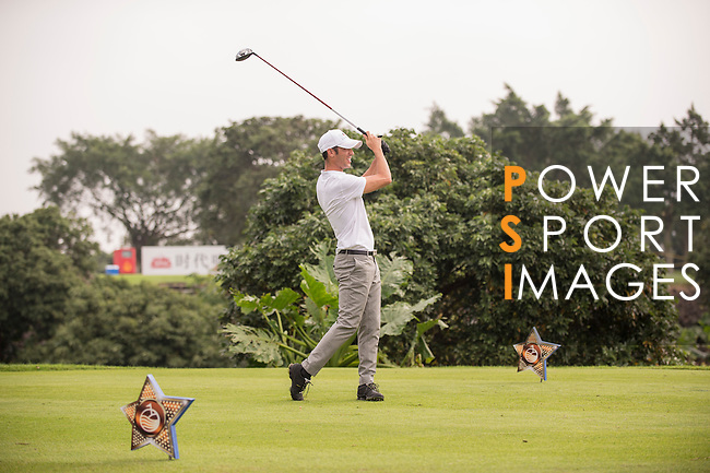 Luis Garcia tees off during the World Celebrity Pro-Am 2016 Mission Hills China Golf Tournament on 23 October 2016, in Haikou, Hainan province, China. Photo by Marcio Machado / Power Sport Images