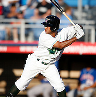 June 23, 2009:  Second Baseman Ernesto Manzanillo of the Jamestown Jammers at bat during a game at Russell Diethrick Park in Jamestown, NY.  The Jammers are the NY-Penn League Short-Season Class-A affiliate of the Florida Marlins.  Photo by:  Mike Janes/Four Seam Images